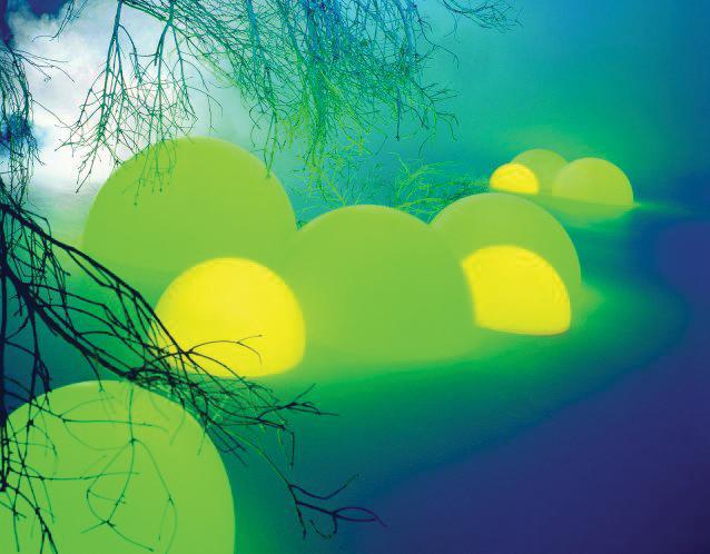 MOONLIGHT Halbkugelleuchte mit Farbfiltern in gelb und grün