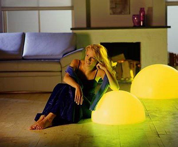 MOONLIGHT Halbkugel-Leuchten HMFLE 550mm und HMFL 750mm mit gelben Filtern und 5m Kabel