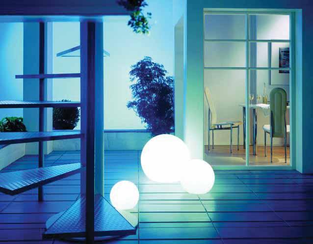 MOONLIGHT Vollkugel-Leuchten MFL 250mm, MFL 350mm und MFL 550mm mit Filtern in blau-hell und 5m Kabel