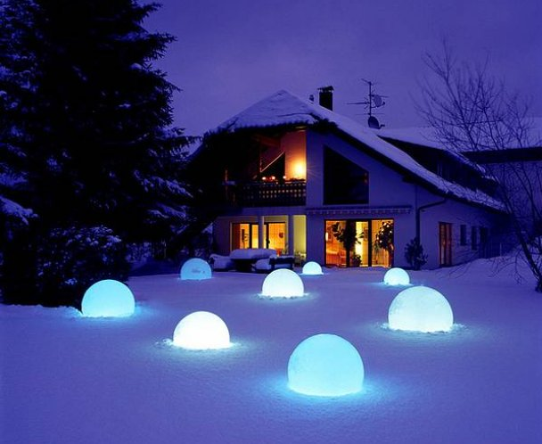 MOONLIGHT Vollkugel-Leuchten MFL 750mm mit Filtern in blau-hell  und 5m Kabel
