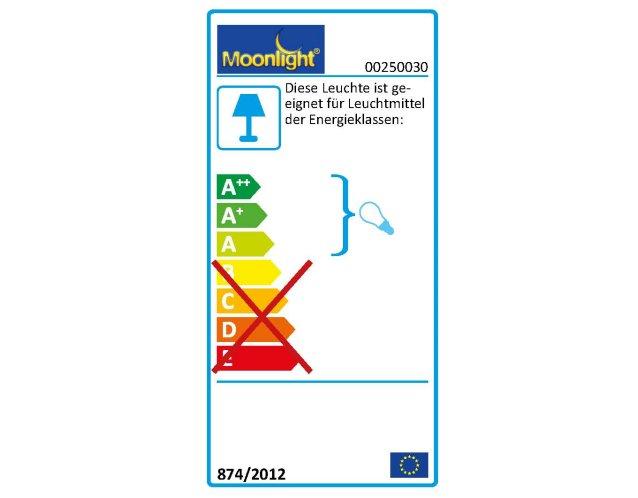Die MOONLIGHT Leuchten 250.030 sind geeignet für Leuchtmittel der Energieklassen A.