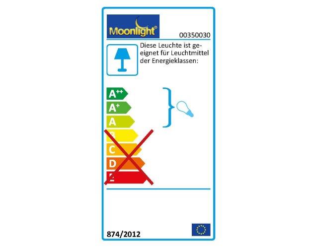 Die MOONLIGHT Leuchten 350.030 sind geeignet für Leuchtmittel der Energieklassen A.