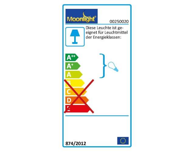Die MOONLIGHT Leuchten 250.020 sind geeignet für Leuchtmittel der Energieklassen A.