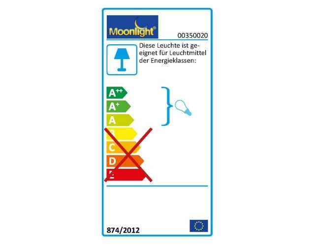 Die MOONLIGHT Leuchten 350.020 sind geeignet für Leuchtmittel der Energieklassen A.