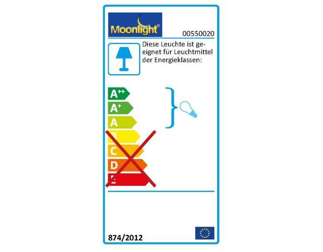 Die MOONLIGHT Leuchten 550.020 sind geeignet für Leuchtmittel der Energieklassen A.