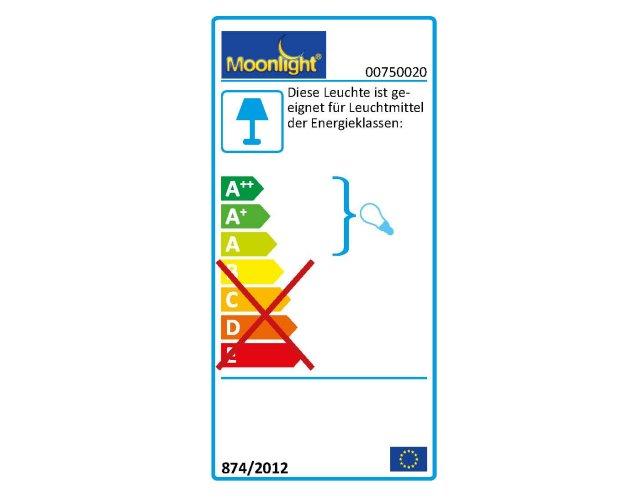 Die MOONLIGHT Leuchten 750.020 sind geeignet für Leuchtmittel der Energieklassen A.