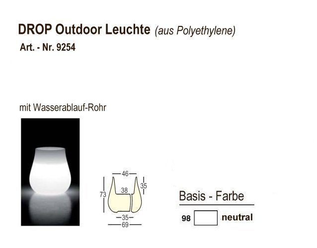 9254-98, DROP Outdoor-Leuchten neutral