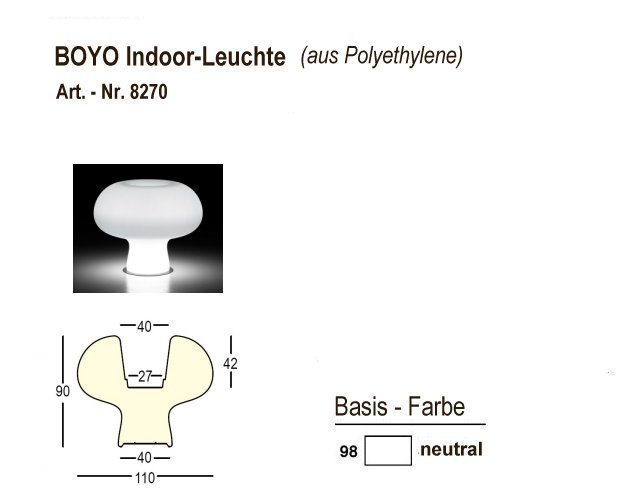8270-98, BOYO Indoor-Leuchte neutral