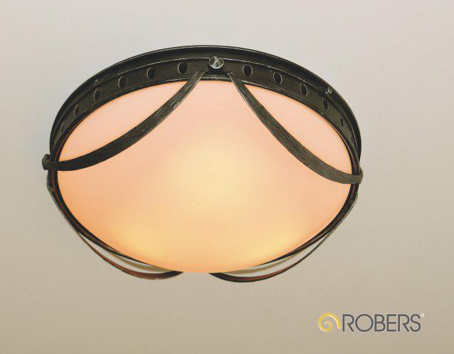 DE2527, ROBERS Deckenleuchte, Oberflächen-Optik in Eisen natur, Glas Nr.321 Opal