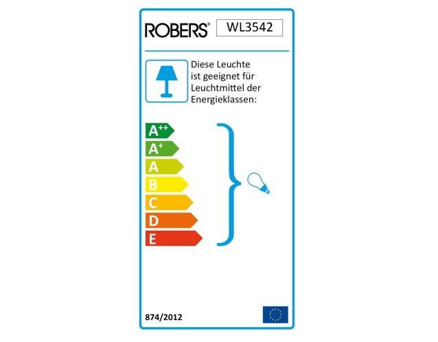Die ROBERS Leuchte WL3542 ist geeignet für Leuchtmittel der Energieklassen A++ bis E