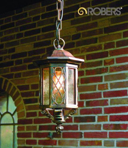 ROBERS Hängeleuchte HL2419, Oberflächen-Optik in Patina, Glas Nr. 368 Antika