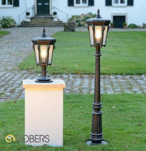 ROBERS Sockelleuchte AL6803 und Ständerleuchte AL6804, Oberflächen-Optik in Eisen natur, Glas Facettenscheiben matt