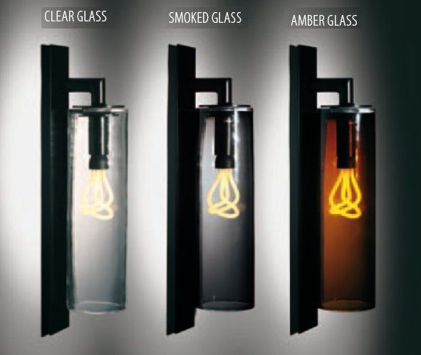 DOME Leuchten mit Klarglas, Rauchglas oder Amber Glas nach Wahl
