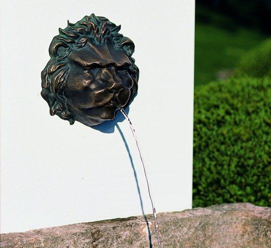 ROBERS Wasserspeier Löwenkopf, edle Handarbeit aus Bronzeguss, 26x26 cm
