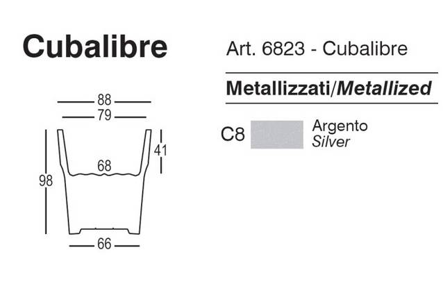 Pflanzgef CUBALIBRE in silbermetallic