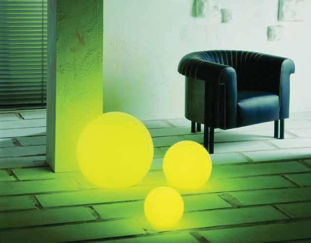 MOONLIGHT Vollkugel-Leuchten MFL 250mm, 350mm und 550mm mit gelben Farbfiltern und 5m Kabel