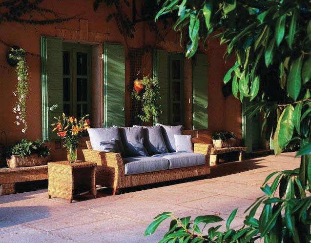 PALM BEACH Gartenmbel auf Teakbasis, Sofa mit Wurfkissen