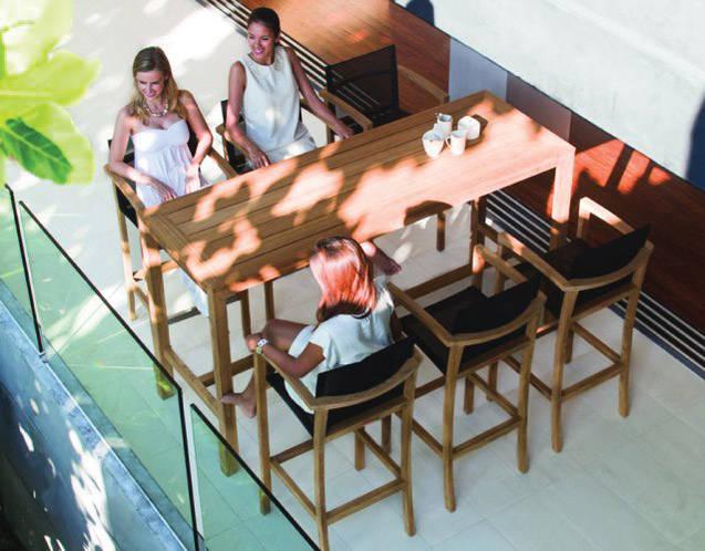 Die UV-beständige BATYLINE®-Bespannung der XQI Barstühle ist formbeständig und extrem reißfest.