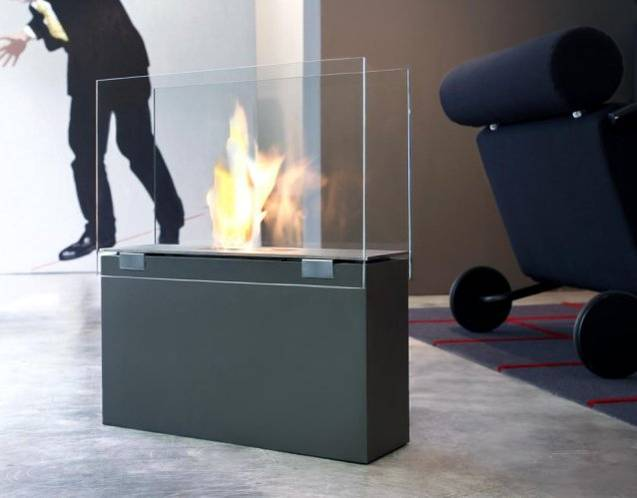 MURO stone Feuerstelle mit Windschutz aus Sicherheitsglas
