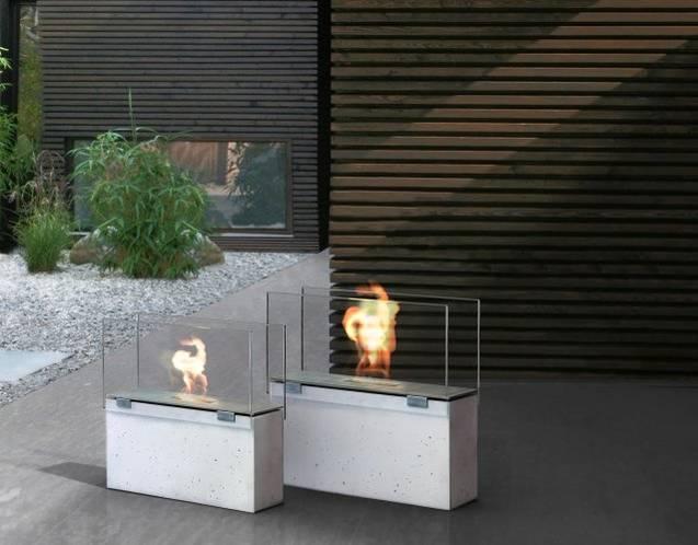MURO stone Feuerstellen aus Glasfaserbeton in puristischer Form