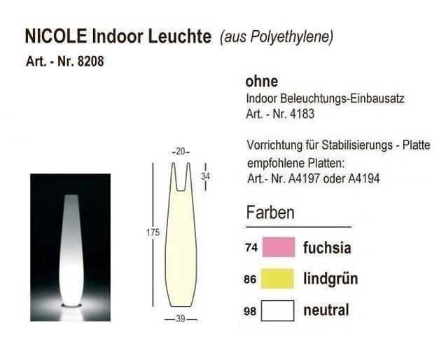 NICOLE Indoor-Leuchte, Höhe 175 cm